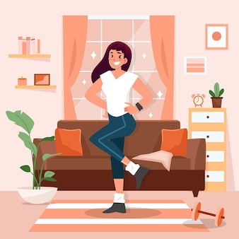 Dança fitness em casa ilustrada