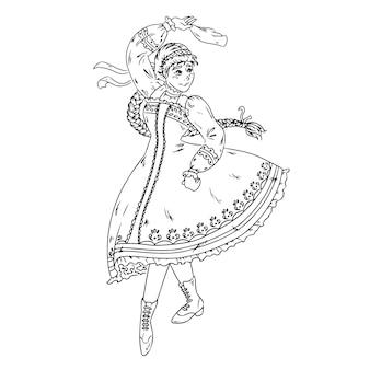 Dança folclórica realizada pela menina ucraniana, russa, bielorrussa em traje nacional