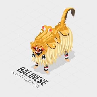 Dança isométrica de leão balinesa