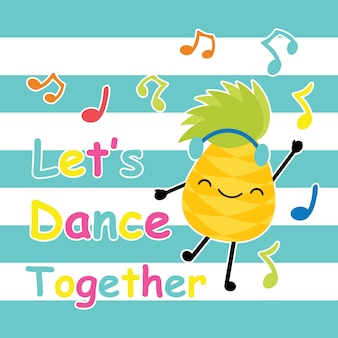 Dança linda de abacaxi em desenhos animados vetoriais de fundo listrado, cartão de verão, papel de parede e cartão de saudação, design de camiseta para ilustração vetorial infantil