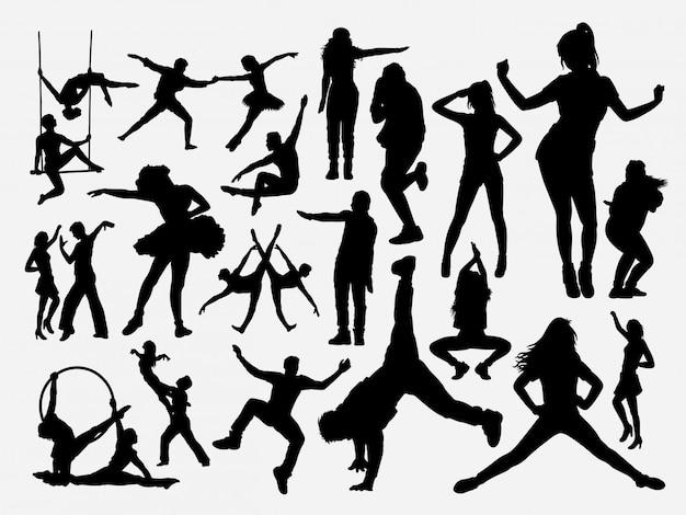 Dança masculina e feminina silhueta