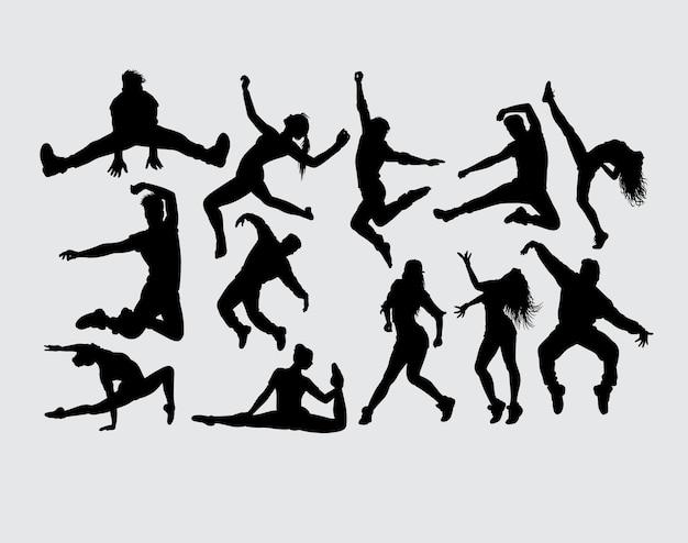 Dança, mostrando, macho fêmea, gesto, silueta