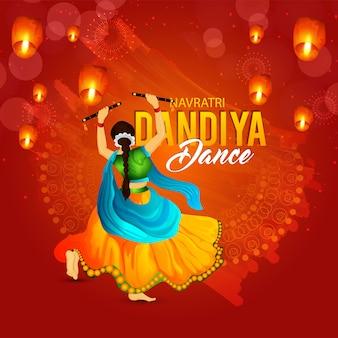 Dança noturna dandiya com fundo