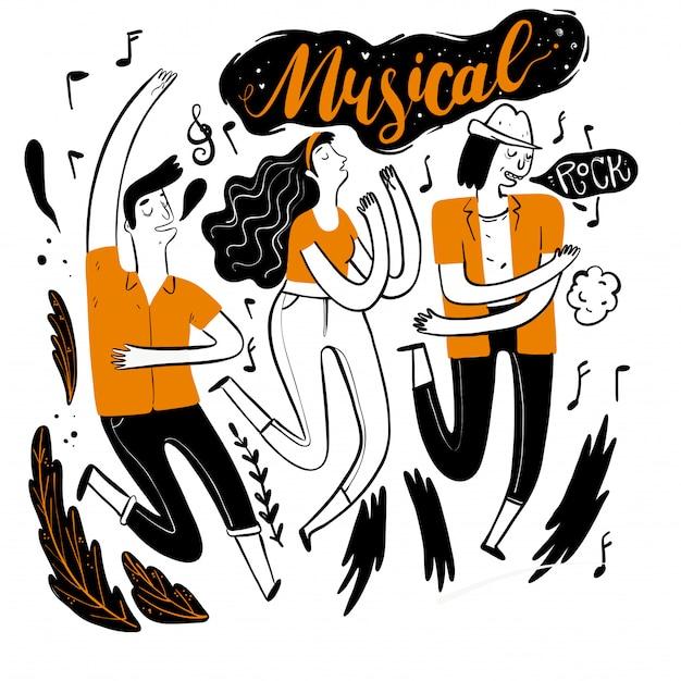 Dançando no festival de música.