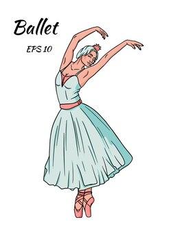 Dançarina com vestido azul e sapatilhas de ponta rosa