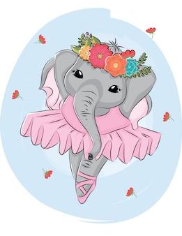 Dançarina de balé de elefante dos desenhos animados com coroa de flores