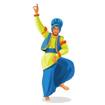 Dançarina de bhangra em ilustração nacional de pano Vetor Premium