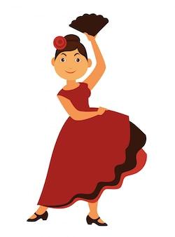 Dançarina de flamenco feminina em vestido longo