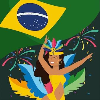 Dançarina de menina com fogos de artifício e bandeira do brasil