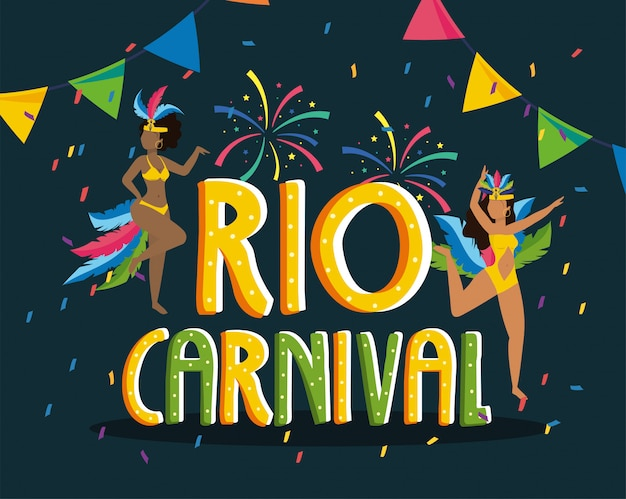 Dançarina de meninas com fantasia e fogos de artifício para o carnaval do rio