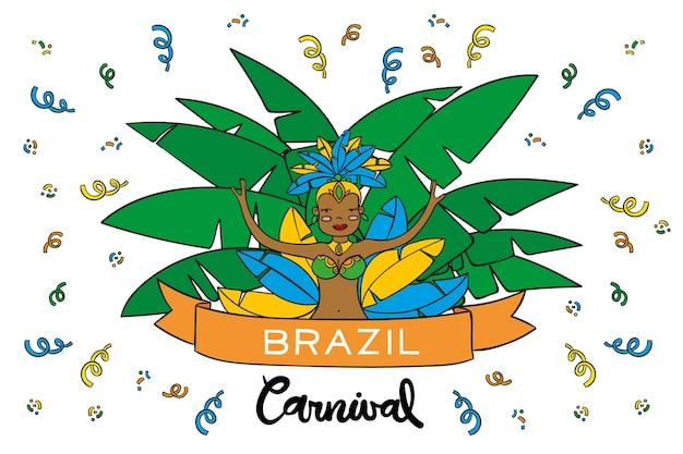 Dançarina desenhada de mão para o carnaval brasileiro