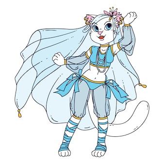 Dançarina do ventre de mulher gato bonito.