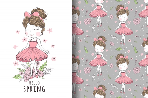 Dançarina linda garota desenhada à mão ilustração e padrão