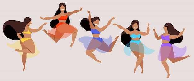 Dançarinas de biquíni colorido e saias transparentes. mulheres felizes cabelos escuros sorrindo, pulando e se divertindo. ilustração moderna senhoras em trajes de banho. elementos populares para web.