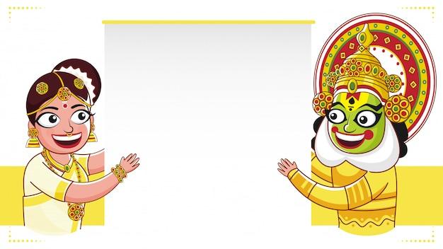 Dançarino de kathakali e mulher indiana sul que guardam um papel vazio no fundo branco e amarelo.