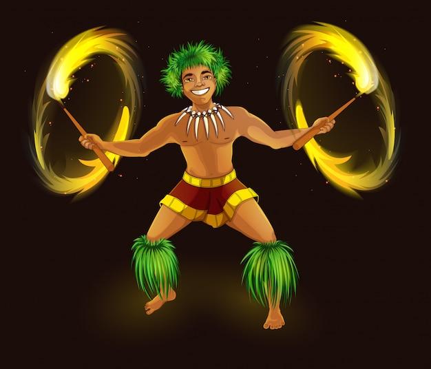Dançarino havaiano com tochas de fogo no vestido nacional.