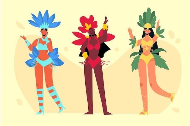 Dançarinos brasileiros com fantasias definidas
