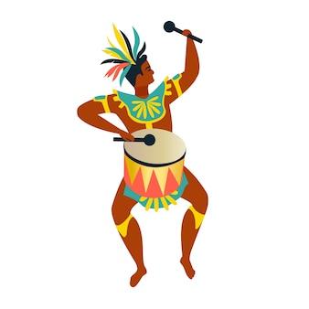 Dançarinos brasileiros de samba rio. vector carnaval homem dançando.