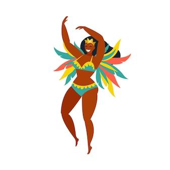 Dançarinos brasileiros de samba rio. vector menina de carnaval dançando.