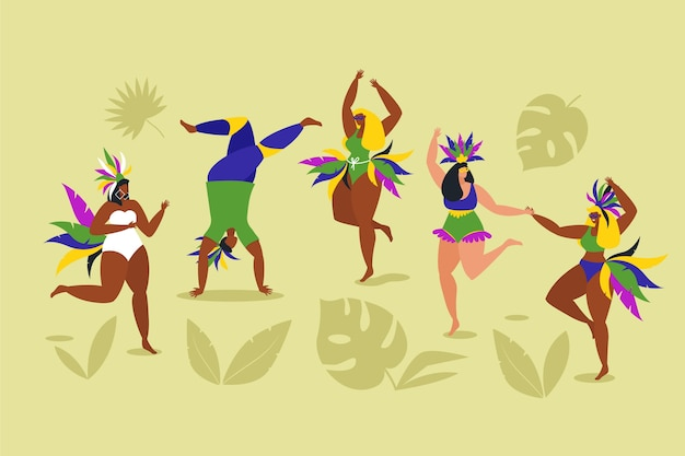 Dançarinos de carnaval brasileiro com sombras de folhas