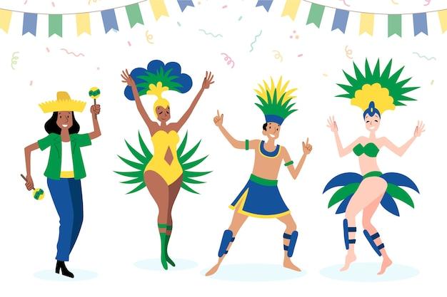 Dançarinos de carnaval brasileiros que passam tempo com os amigos