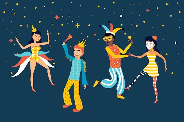 Dançarinos de carnaval na coleção da noite