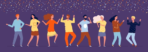 Dançarinos felizes. pessoas em festa à noite dançando sob confetes fotos corporativas de feriados