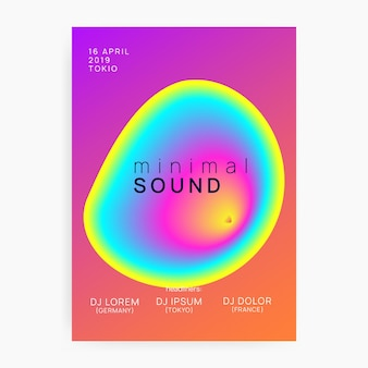 Dance flyer. néon e mostrar layout. efeito divertido para capa. padrão criativo para design de apresentação. cartaz de música brilhante. panfleto de dança rosa e azul