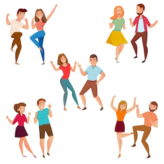 Dancing people 5 icons composição