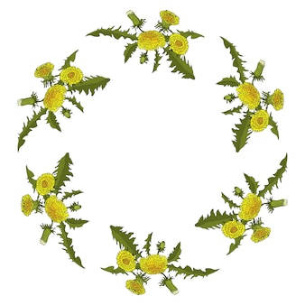 Dandelion flowers circle ornament