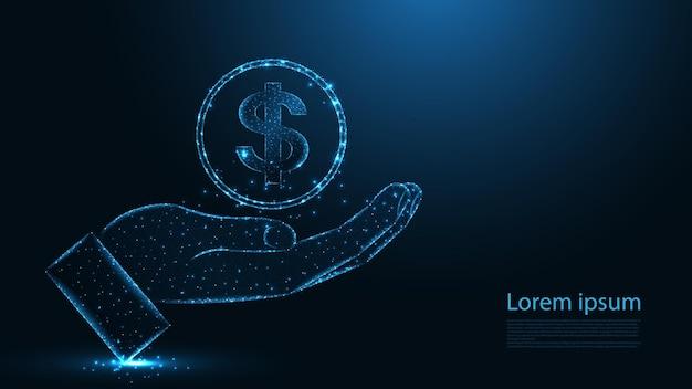 Dando a mão com conexão de linha de dólar. design de wireframe de baixo poli. fundo geométrico abstrato. ilustração vetorial.