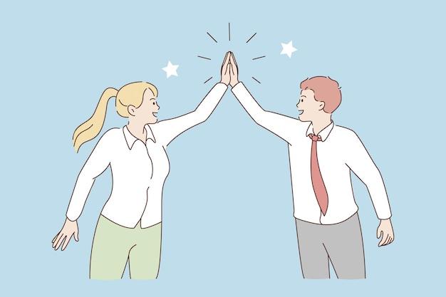 Dando cinco e conceito de colaboração