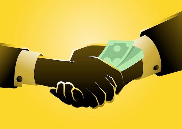 Dar dinheiro de forma ilegal ou antiética. conceito de suborno.