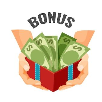 Dar dinheiro em caixa de presente aberta com notas de dólar, ilustração vetorial de texto de bônus. recompensa financeira no negócio, presente ou desconto durante a compra do logotipo