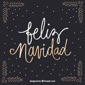 Dark feliz navidad lettering background