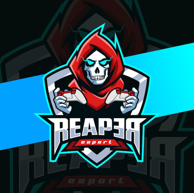 Dark gamer reaper mascote esport logotipo
