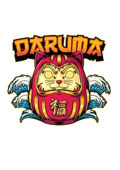 Daruma gato ilustração estilo japonês
