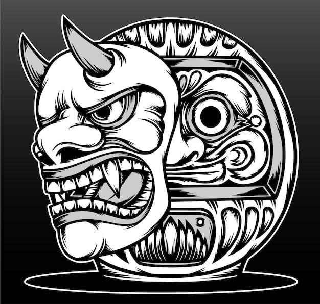 Daruma legal com máscara hannya desenhado à mão design de ilustração