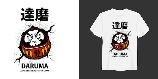 Daruma tshirt and apparel trendy design tipografia imprimir ilustração vetorial