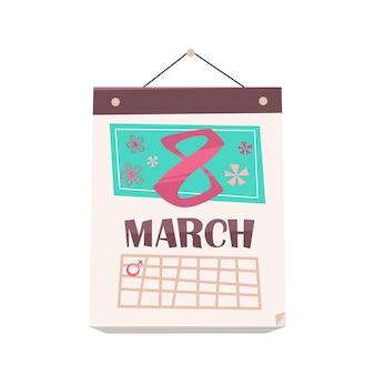 Data 8 de março no calendário mensal dia das mulheres feriado celebração banner flyer ou ilustração de cartão comemorativo