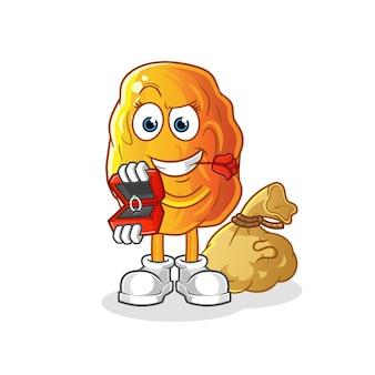 Data amarela propor e segurando mascote de desenho animado