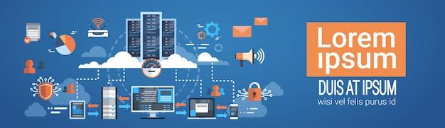 Data center cloud conexão com computador hosting server database synchronize technology