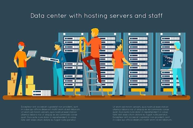 Data center com servidores de hospedagem e equipe. tecnologia da computação, rede e banco de dados, centro de internet, sala de segurança de comunicação