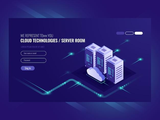 Data center em nuvem, ícone da sala do servidor, processamento de solicitação de informações