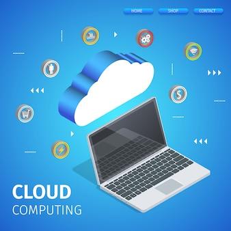 Data center hosting server conectado com laptop.