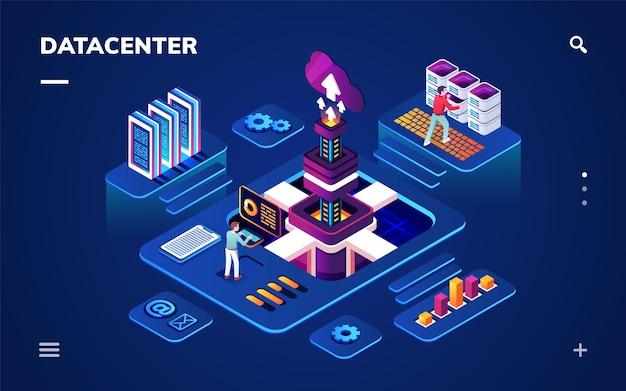 Data center ou centro com engenheiros de hardware ou software.