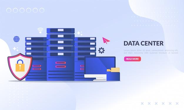 Data center para a página de destino da web