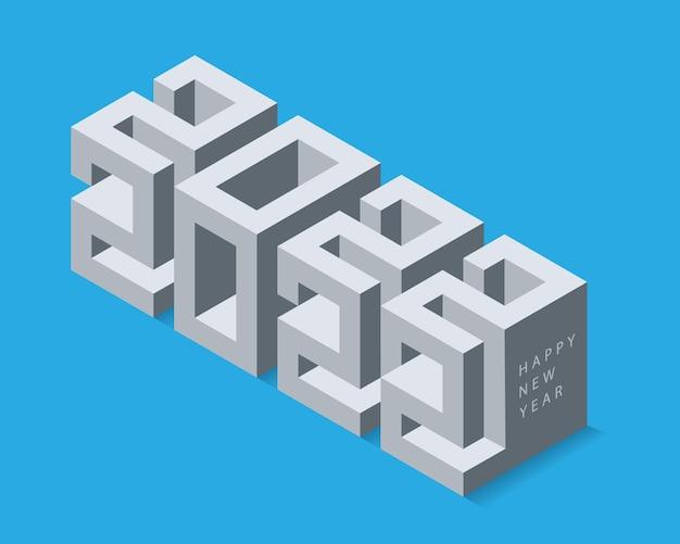 Data de 2022 do calendário 3d. letras cúbicas modernas. desenho isométrico do vetor.