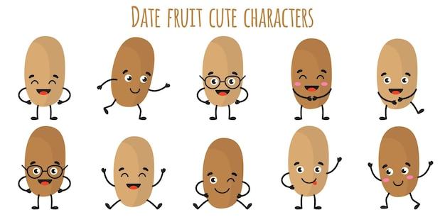 Data fruta fofos personagens alegres engraçados com diferentes poses e emoções. coleção de alimentos de desintoxicação antioxidante de vitamina natural. ilustração isolada dos desenhos animados.