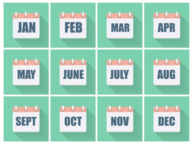 Datas do mês ícone plana definida com sombra longa. ilustração